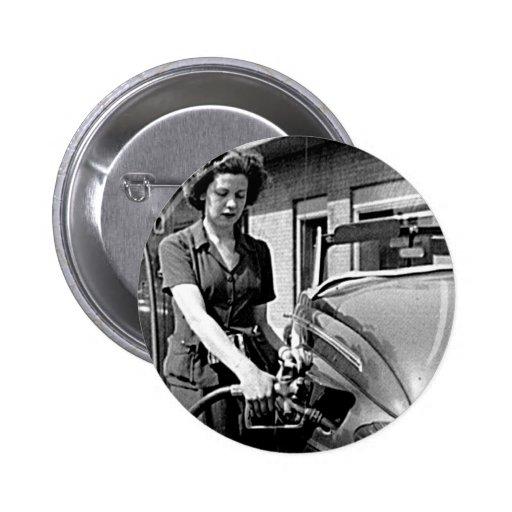 Woman Pumping Gas Vintage Louisville Kentucky Pin