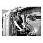 Woman Pumping Gas Vintage Louisville Kentucky Post Card