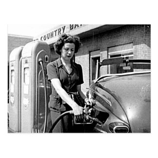 Woman Pumping Gas Vintage Louisville Kentucky Postcard