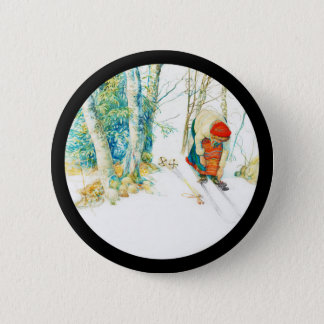 Woman Puts on Her Skis Pinback Button