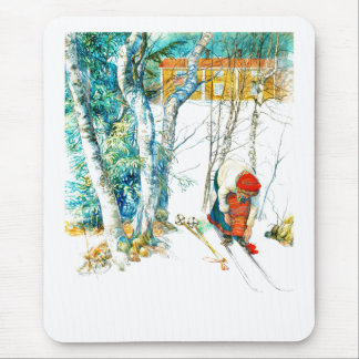 Woman Putting on Her Skis Mouse Pad