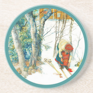 Woman Putting on Her Skis Sandstone Coaster