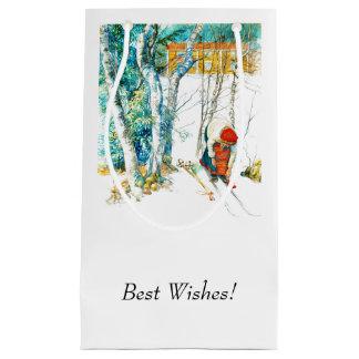 Woman Putting on Her Skis Small Gift Bag