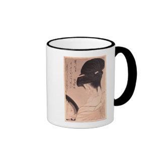 Woman Putting on Make-up Coffee Mug