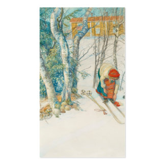 Woman Putting on Skis - Skidloperskan Double-Sided Standard Business Cards (Pack Of 100)