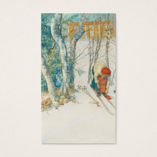 Woman Putting on Skis - Skidloperskan Business Card