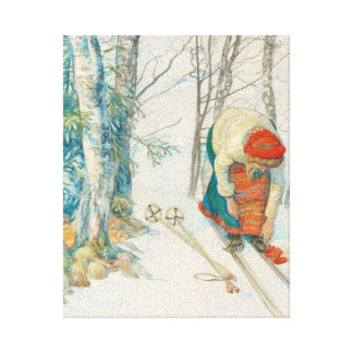 Woman Putting on Skis - Skidloperskan Stretched Canvas Print