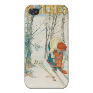 Woman Putting on Skis - Skidloperskan Cases For iPhone 4
