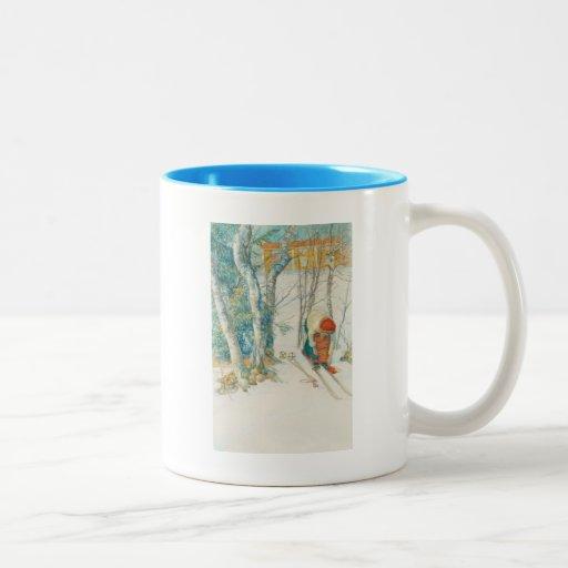 Woman Putting on Skis - Skidloperskan Coffee Mug