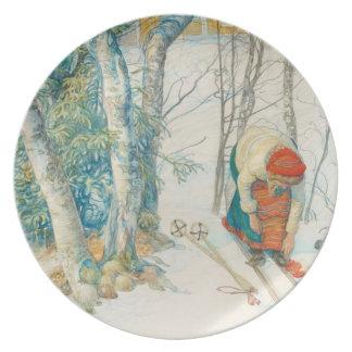 Woman Putting on Skis - Skidloperskan Dinner Plate