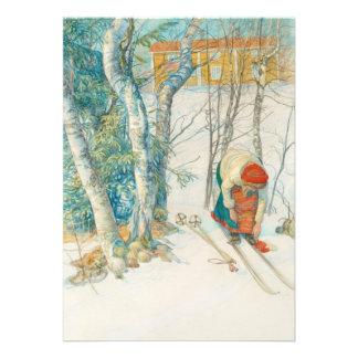 Woman Putting on Skis - Skidloperskan Invite
