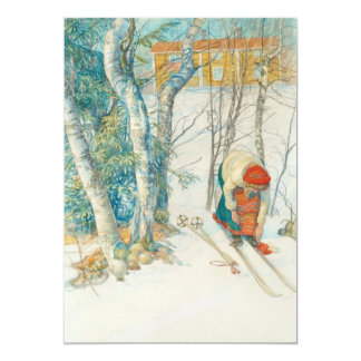 Woman Putting on Skis - Skidloperskan 5x7 Paper Invitation Card
