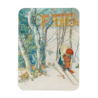 Woman Putting on Skis - Skidloperskan Magnet