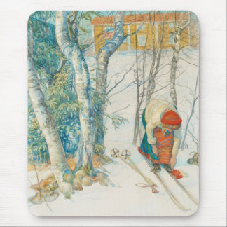 Woman Putting on Skis - Skidloperskan Mouse Pads