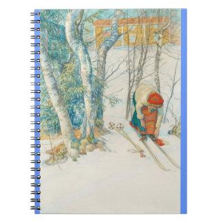 Woman Putting on Skis - Skidloperskan Notebook