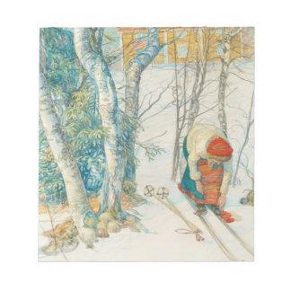 Woman Putting on Skis - Skidloperskan Notepad