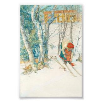 Woman Putting on Skis - Skidloperskan Photo Print