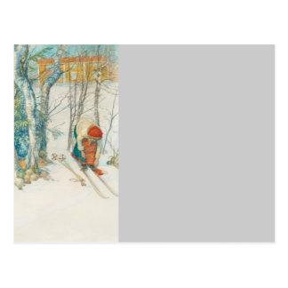 Woman Putting on Skis - Skidloperskan Postcard