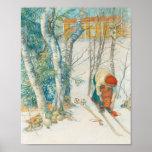 Woman Putting on Skis - Skidloperskan Poster