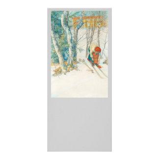 Woman Putting on Skis - Skidloperskan Customized Rack Card