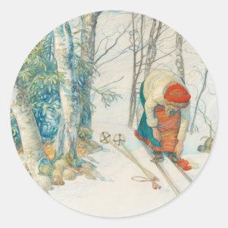 Woman Putting on Skis - Skidloperskan Classic Round Sticker