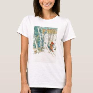 Woman Putting on Skis - Skidloperskan T-Shirt