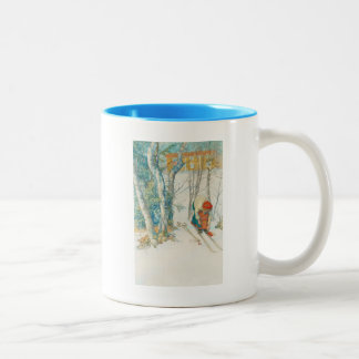 Woman Putting on Skis - Skidloperskan Two-Tone Coffee Mug