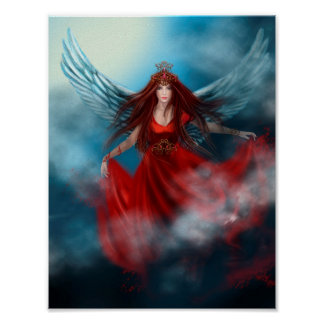 Woman queen with wings in red dress in clouds poster