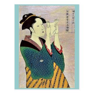 Woman reading a letter by Kitagawa, Utamaro Ukiyo Postcard