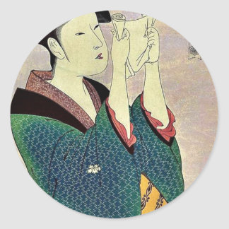 Woman reading a letter by Kitagawa, Utamaro Ukiyo Classic Round Sticker