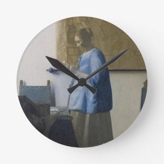 Woman Reading a Letter, c.1662-63 (oil on canvas) Round Clock