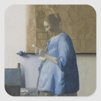 Woman Reading a Letter, c.1662-63 (oil on canvas) Square Sticker