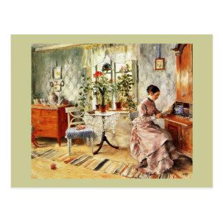 Woman Reading a Letter Postcard