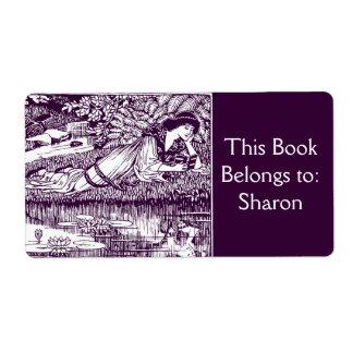 Woman Reading Art Nouveau Bookplate Label