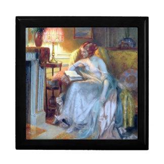 Woman reading book gift box