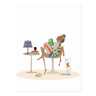 Woman Reading Book On Chair Custom Design Postcard