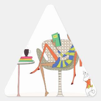Woman Reading Book On Chair Custom Design Triangle Sticker