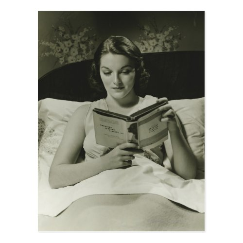 Woman Reading Book Postcard