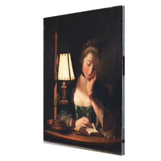 Woman Reading by a Paper-bell Shade, 1766 (oil on Canvas Print