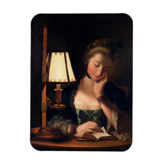 Woman Reading by a Paper-bell Shade, 1766 (oil on Magnet
