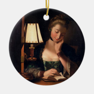 Woman Reading by a Paper-bell Shade, 1766 (oil on Double-Sided Ceramic Round Christmas Ornament