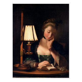 Woman Reading by a Paper-bell Shade, 1766 (oil on Postcard