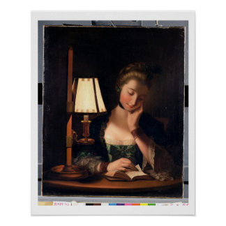 Woman Reading by a Paper-bell Shade, 1766 (oil on Poster