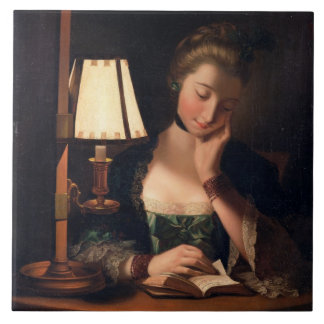 Woman Reading by a Paper-bell Shade, 1766 (oil on Large Square Tile