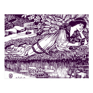 Woman Reading by a pond Postcard