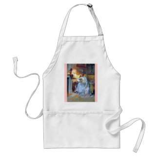 Woman reading by the lamp antique painting adult apron