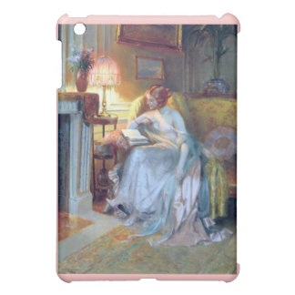 Woman reading by the lamp antique painting cover for the iPad mini