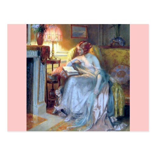 Woman reading by the lamp antique painting post cards