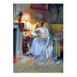 Woman Reading By The Lamp Antique Painting Postcard at Zazzle