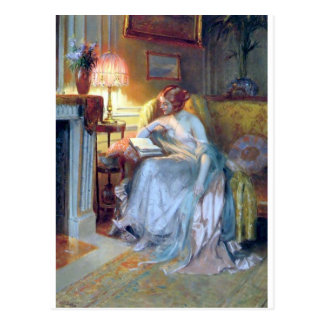Woman reading by the lamp antique painting postcard
